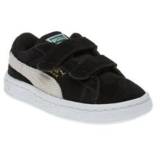 New Infants Puma Black Suede 2 Straps Trainers Velcro
