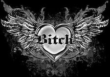 Bitch With Wings Tattoo T-Shirt PLUS SIZE -or- SUPERSIZE T30F Rhinestone