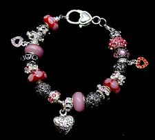 EUROPEAN STYLE silver CHARM BEAD BRACELET Valentines  hearts pink red
