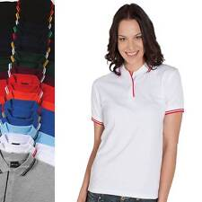 Ladies Contrast Polo Shirt Womens Top Size 8 10 12 14 16 18 20 22 24 Sports 2LCP