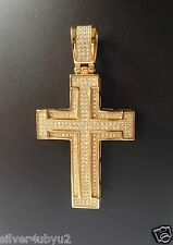 Hip-Hop Style Micro Pave Big Stainless Steel 24K Gold Plated Cross Pendant