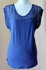 NWT LUCKY BRAND WOMENS S M L NAVY LACE TOP BLOUSE SUMMER SLUB COTTON