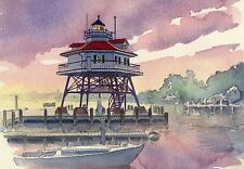 Drum Point Lighthouse Chesapeake Bay Screwpile Maryland Matted Art Prints