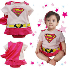 Girl Baby Infant Toddler Kid Superman Bodysuit Costume Dress with Removab Cape