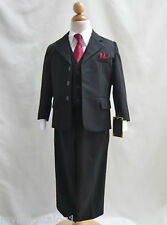 Boy Toddler Teen Black with red tie formal tuxedo suit ring bearer wedding party