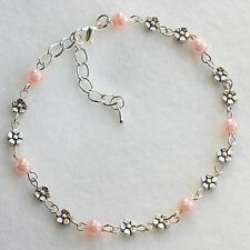 NEW Unique Pretty Glass Pearl Daisy Chain Anklet / Ankle Bracelet Colour Choice