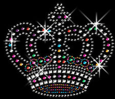 Sparkly COLORFUL Crowns Rhinestud Rhinestone T-Shirt PLUS SIZE or SUPERSIZE T450