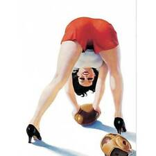 NEW Retro Pinup Girl Brunette Playing Football Vintage Poster Wall Art Decor