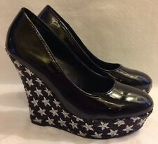 New Bongo Black Patent Wedge Heels with Black and Silver Star Heels 6 8 9.5