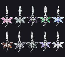 Silver Plated Rhinestone Dragonfly Dangle Clip On Charm Fits Link Chain Bracelet