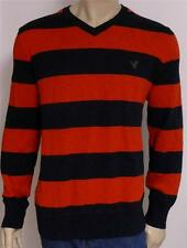 American Eagle Outfitters AEO Mens Red Navy Rugby Stripe V-Neck Sweater New NWT
