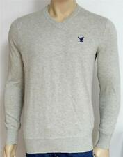 American Eagle Outfitters AEO Mens Grey Heather Solid V-Neck Sweater New NWT