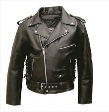 Men's Classic Motorcycle Jacket with Side Laces in Split Cowhide Leather AL2003