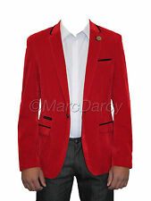 Mens Designer Stylish Red Velvet  Blazer Ideal For Casual Parties And Stage Wear