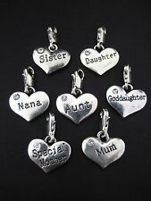 PICK YOUR CHARM Clip On Heart MUM MOTHER DAUGHTER SISTER AUNT NANA GODDAUGHTER