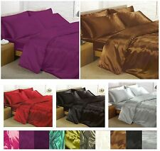6 Piece SATIN Complete Set Duvet Cover, Fitted Sheet And 4 Pillowcases SALE ON !