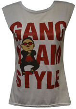 Ladies Sleeve Casual Top Gangnam Style Slogan Graphic Tee Womens Sizes UK 8-14