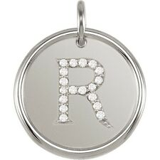 Posh Mommy Jewelry Initial R Roxy Pendant with Diamonds, Silver or 14K Gold