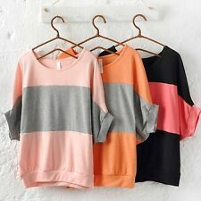 Loose Women Bat Sleeve T-shirt Girls Sweet Boat Neck Casual Blouse Tops