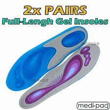 MEDIPAQ™ 2x Pairs Silicone Gel Full-Length Insoles - Relieve Sore Foot Heel Pain