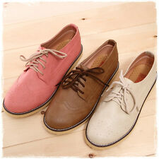 BN Womens Comfy Cute Lace Up Flats Oxfords Flats Boot Booties Casual Shoes