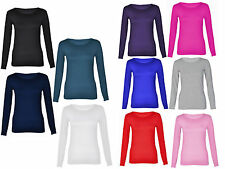 New Ladies Womens Long Sleeve Stretch Plain Round Scoop Neck T Shirt Top 8-14