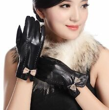 Women's TOP Genuine Lambskin leather Sheepskin winter warm Bowknot gloves 1331