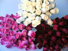 MOTHERS DAY BURGUNDY WINE & CREAM MIXED WHOLESALE STOCK CLEARANCE WOODEN ROSES
