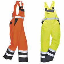 WATERPROOF HI VIS BIB & BRACE MOTORCYCLE DUNGAREES SAFETY HI VIZ  FISHING