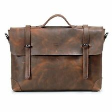 Men's Genuine Crazy Horse Leather Briefcase Handbag Messenger Shoulder BAG 061