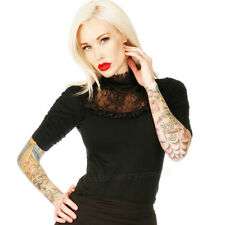 Jawbreaker Vamp It Up Lace Detail Top Gothic Rockabilly Pin Up Retro Vintage