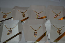 """Initial Pendant Necklace 20"""" Chain Goldtone Crystal Letter B J K L N S T W"""