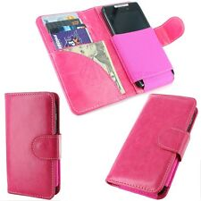 Pink Wallet Case Flip Cover Pouch w/ 4 Card Slots for Cell Phone / Smartphone
