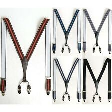 Mens Elastic Faux Leather Suspenders Y-Back Adjustable Braces Clip-On 5 Colors