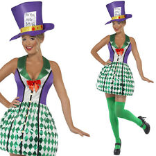 Womens Mad Hatter Alice In Wonderland Fancy Dress Costume Film Character Outfit