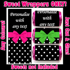 Personalised POLKA DOT BOW Mini Love Heart Sweet WRAPPERS ONLY Hen Party Wedding