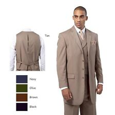 Men's Four Button Classic Wool Feel Back Center Split Solid Suit 3pc Set