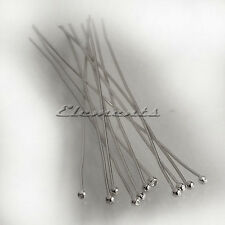 Solid 925 Sterling Silver Ball End Head Pins 30mm x 0.5mm Findings Headpins