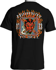 Highway to Hell Vintage Hot Rod Style Rock A Billy Flames Mens T-Shirt Rat Rod
