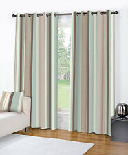 RING TOP FULLY LINED PAIR EYELET READY MADE CURTAINS CREAM BLUE BROWN NEW