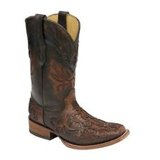 Corral Men's Cognac Teju Lizard With Cross Overlay Square Toe Boots C1197 NIB