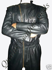 BESPOKE GENUINE SOFT LEATHER NUMAN BOILER SUIT CATSUIT AMAZING  IN BLACK