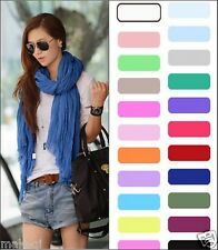 ladies Girls Women Pure Candy Long Crinkle Soft Scarf Wrap Voile Wraps Shawl