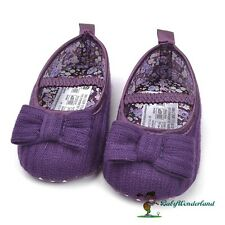 NWT Mothercare Baby Girls Purple Bow Tie Shoes Prewalkers Size 3-18m