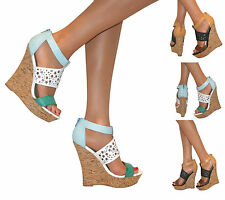 WOMENS CUT OUT WEDGE PEEP TOE PLATFORM HIGH HEELS PARTY SHOE STRAPPY SANDAL SIZE