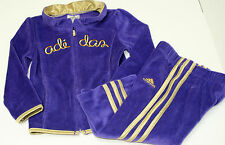 New Adidas Girls Purple & Gold Trimmed Velour Pants Jacket Many Sizes