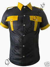 GENUINE LEATHER BLACK & YELLOW  MENS POLICE MILITARY UNIFORM SHIRT WITH PATCH