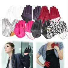 Womens Tight Half Palm Gloves Imitation Leather Five Finger Mittens Vivid Color