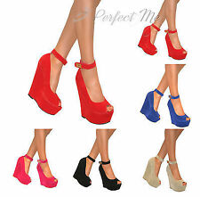 WOMENS PEEP TOE STRAPPY WEDGE PLATFORM HIGH HEELS SHOE BUCKLE SUMMER PARTY SIZE