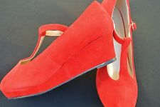 Kids Dress Shoes High Heel Platform Wedge Closed Toe Red Size: 9-4